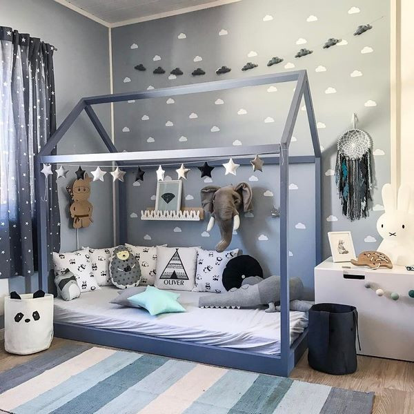 dormitor montessori baiat elefant model albastru pat montessori albastru