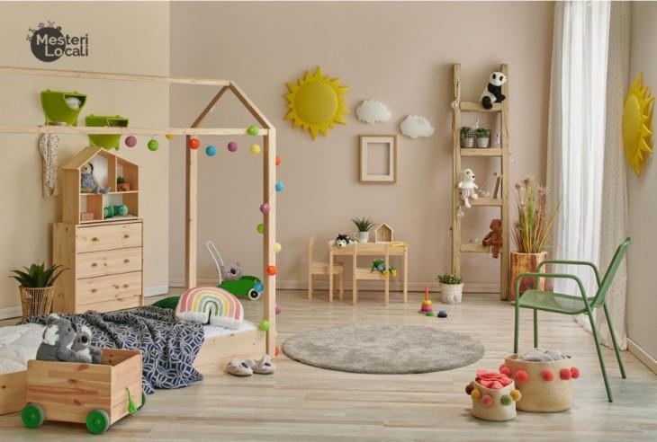 dormitor montessori neutru pat colorat mobila lemn