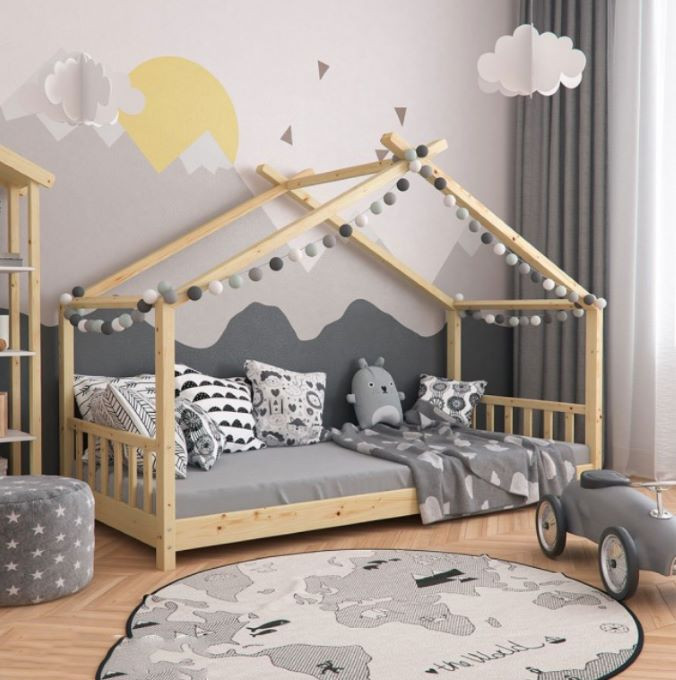 dormitor montessori baiat pat gri perete desen gri